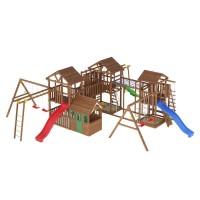 Ігровий майданчик з дерева вежа з будиночком-17